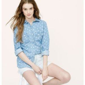 LOFT 'the softened shirt' in floral chambray